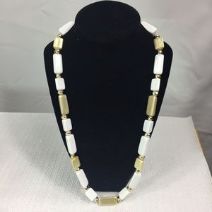 Jewelry - WHITE AND BEIGE FAUX NECKLACE geometric shapes 22""